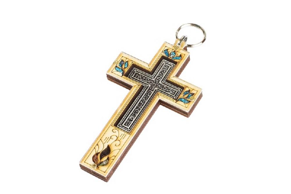 鑲嵌十字架金屬掛飾