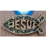 鑲嵌魚型掛飾_JESUS藍色